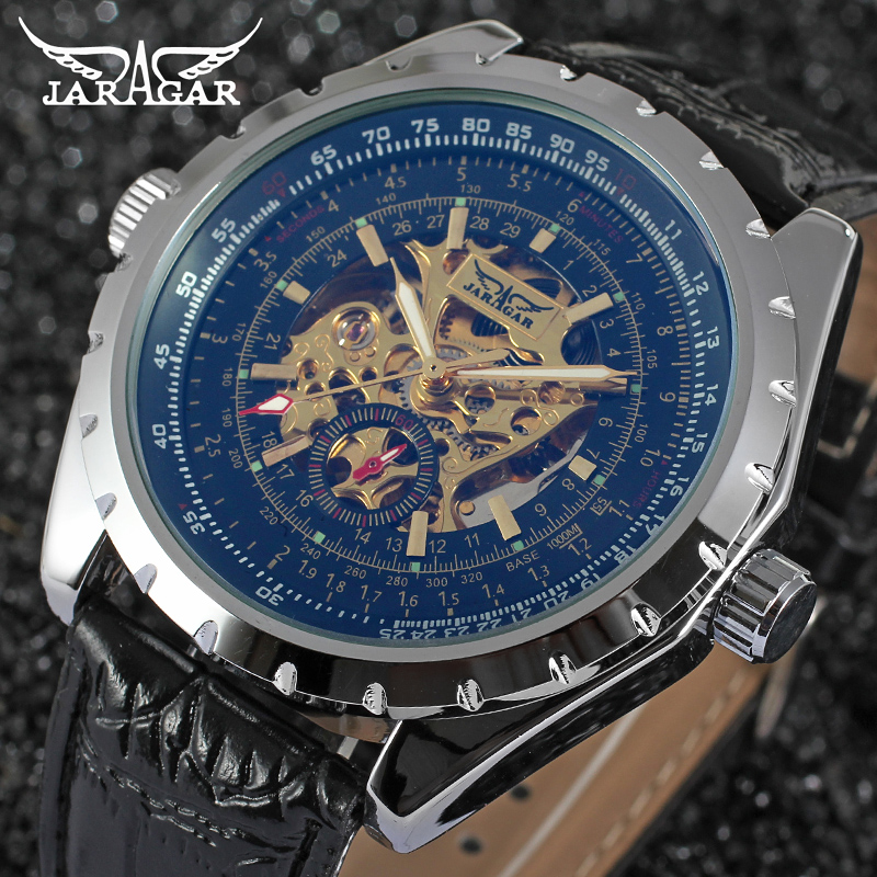 Jaragar New Automatic Watches Men Blue Glasses Dial watch luxury brand man wristwatch Skeleton Mechanical Watch
