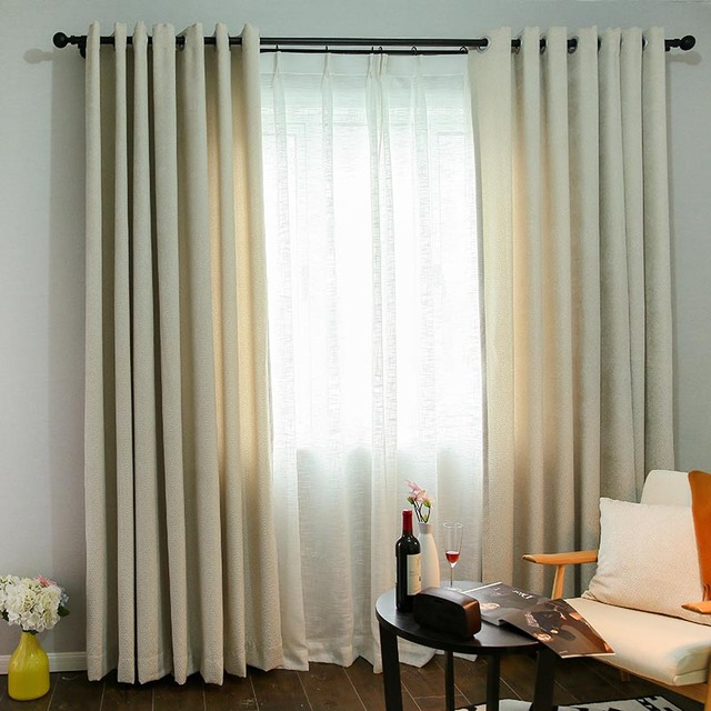 FUNIQUE Creamy White Striped Chenille Blackout Curtains Living ...