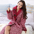 2016 New Winter Nightgown Bath Robe Women Bathroom Robe Female Bathrobe Quilted Pajamas Mujer Thick Spa Robe Shower Homewear
