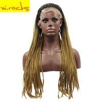 Синтетических волос для косы африканская жара Устойчив русый парики Синтетические волосы на кружеве парик длинные 24 дюймов парики для Для
