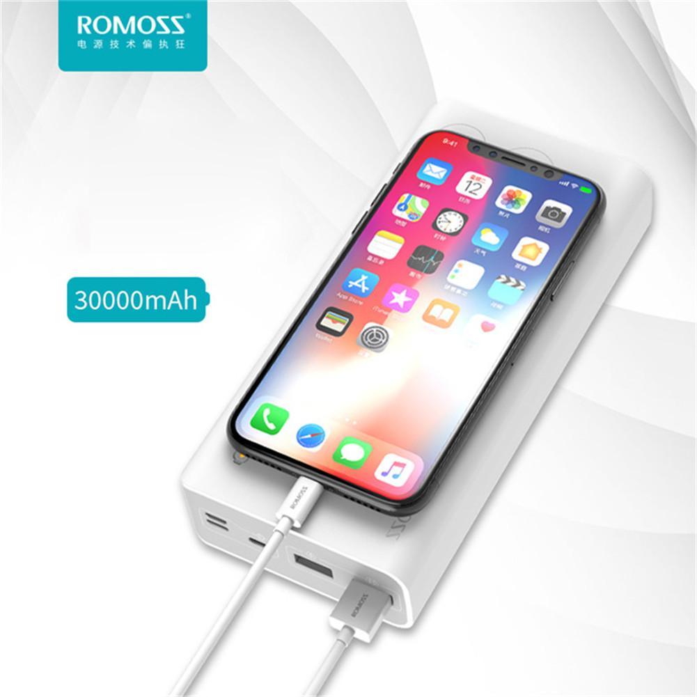 Chargeur batterie externe rapide universel ROMOSS Sense 8 30000 MAh Source d'alimentation Portable pour téléphones mobiles tablette pc avec double Port USB