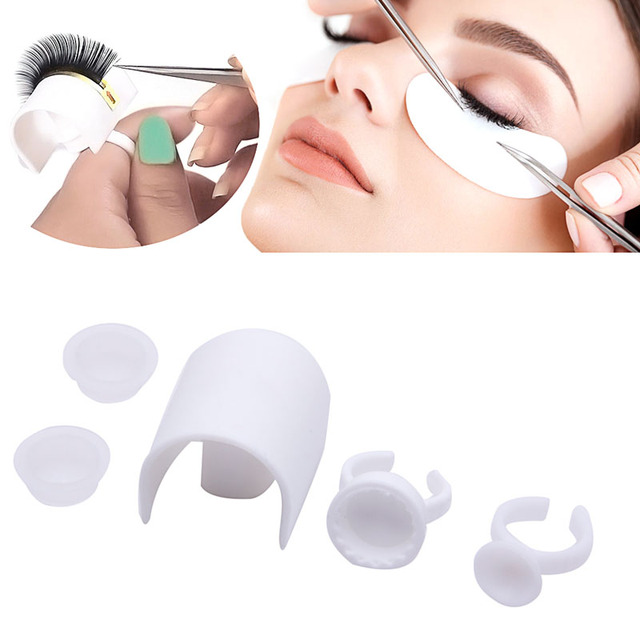 Eye Lash Strip Holder Pallet Glue Ring Cups Set Volume 3D Eyelash Extensions Set 4