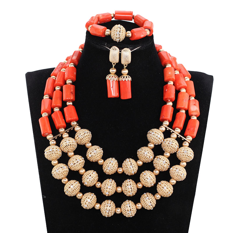 New African Nigerian Beads for Women Traditional African Wedding Original Coral Beads Jewelry Set Dubai Gold Party Bridal ABH669New African Nigerian Beads for Women Traditional African Wedding Original Coral Beads Jewelry Set Dubai Gold Party Bridal ABH669