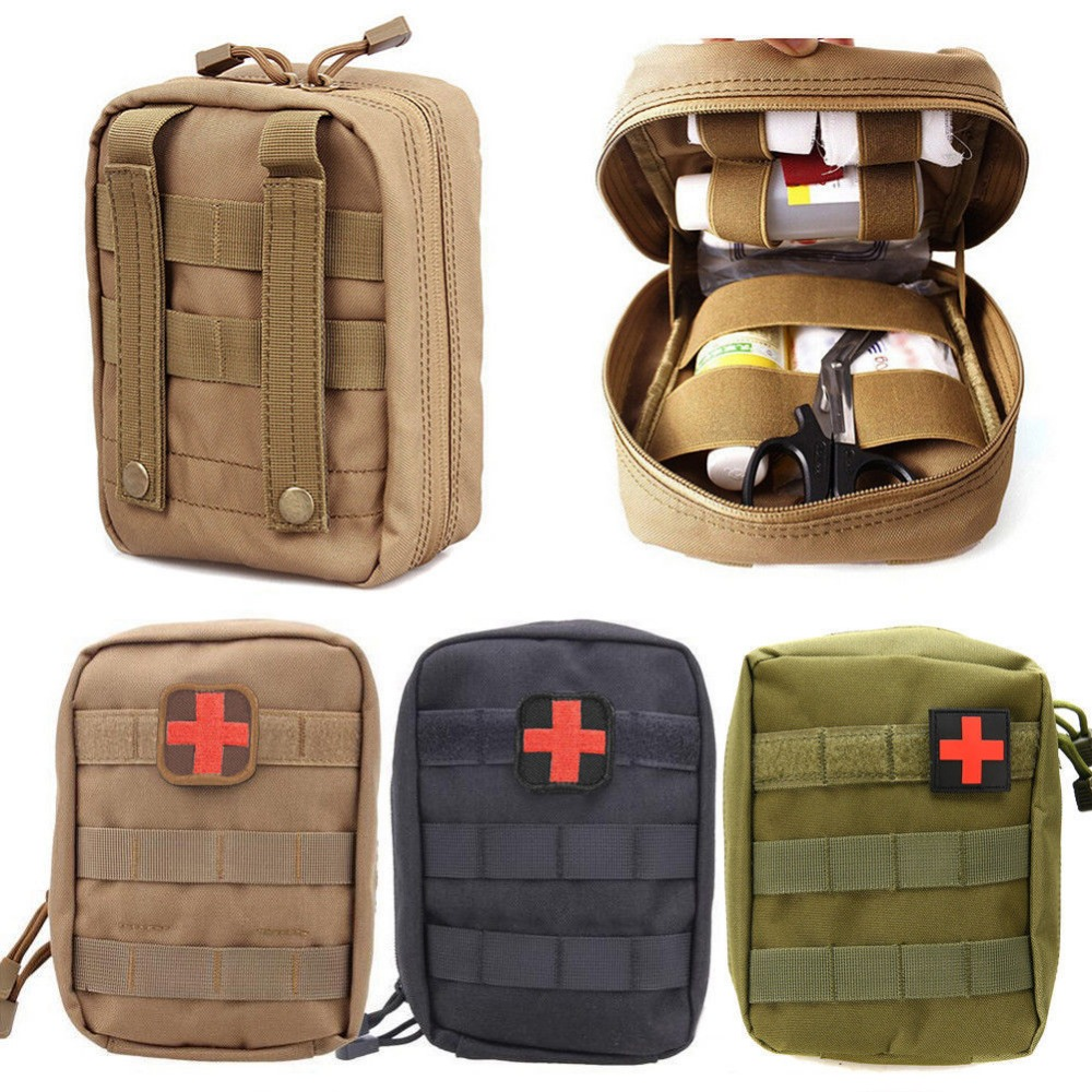 Mini Medical Pouch Travel First Aid Kit Bag 1000D Nylon Tactical MOLLE Survive Portable Survival Tactical Emergency First Aid