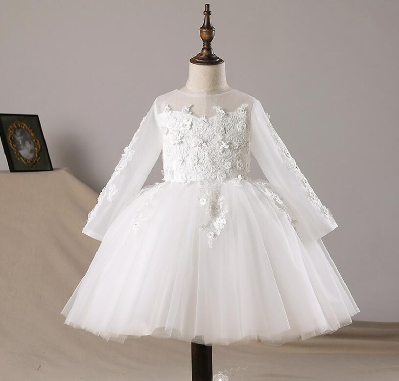 Floral Tulle robe de soirée pour bébé fille robe de mariage pâques bébé robe à manches longues 1 ans anniversaire infantile fantaisie baptême robes