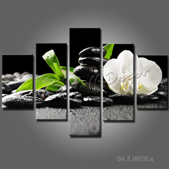 No frame canvas only 5 pieces 100x70cm wall pictures zen for Cadre floral mural