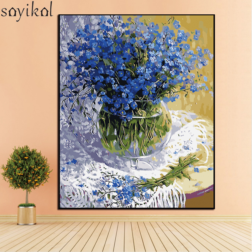 Wooden Frame DIY Painting By Numbers Kit Landscape Flower Acrylic oil Painting Coloring By Number Modern Wall Art Picture Decor
