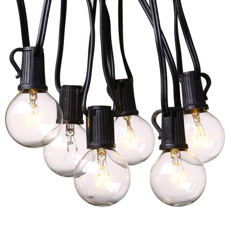 25Ft Globe String Lights With 25 G40 Bulbs  Vintage Patio Garden Light  String For Deco