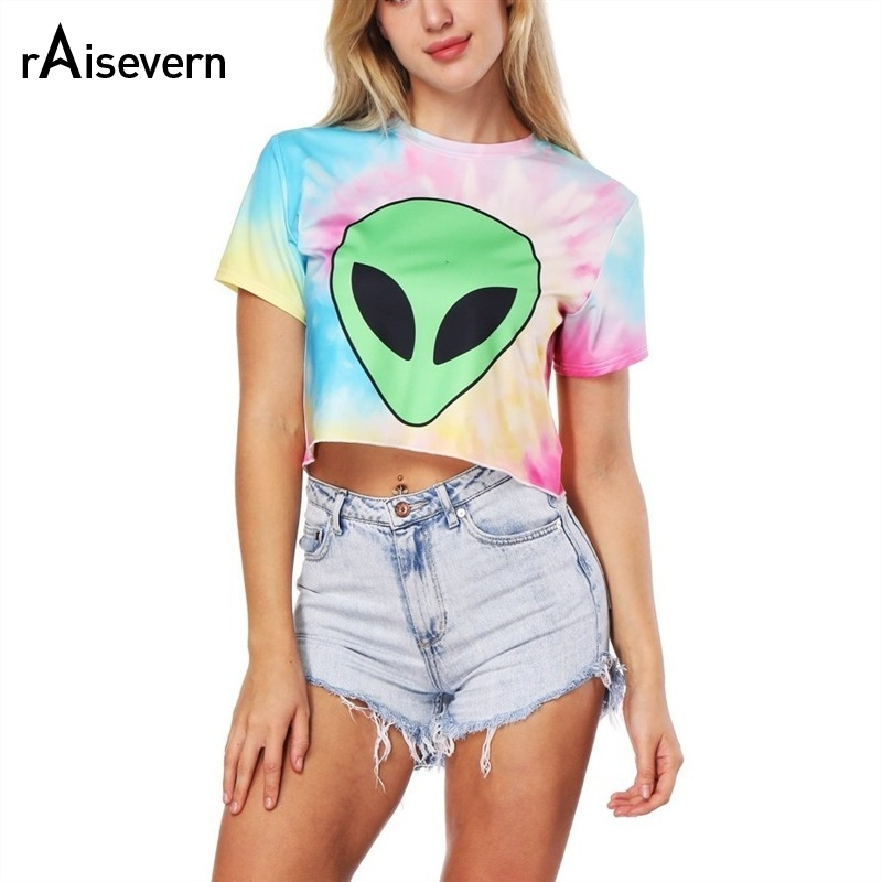 Raisevern Tie Dye Women Alien   T     Shirt   Harajuku Casual Sexy Cropped   T  -  shirt   Lovely Women's Crop Top Tee