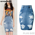 La moda de Nueva Apenada Ripped Denim Falda de Las Mujeres Más El Tamaño de Cintura Alta Faldas Lápiz de Lavado Azul Jupe femme