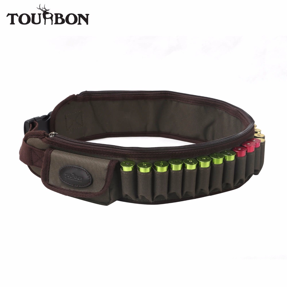 все цены на Tourbon Hunting Shotgun 12/16 Gauge Ammo Belt Shooting Cartridges Holder 24 Rounds Bandolier for Gun Accessories онлайн