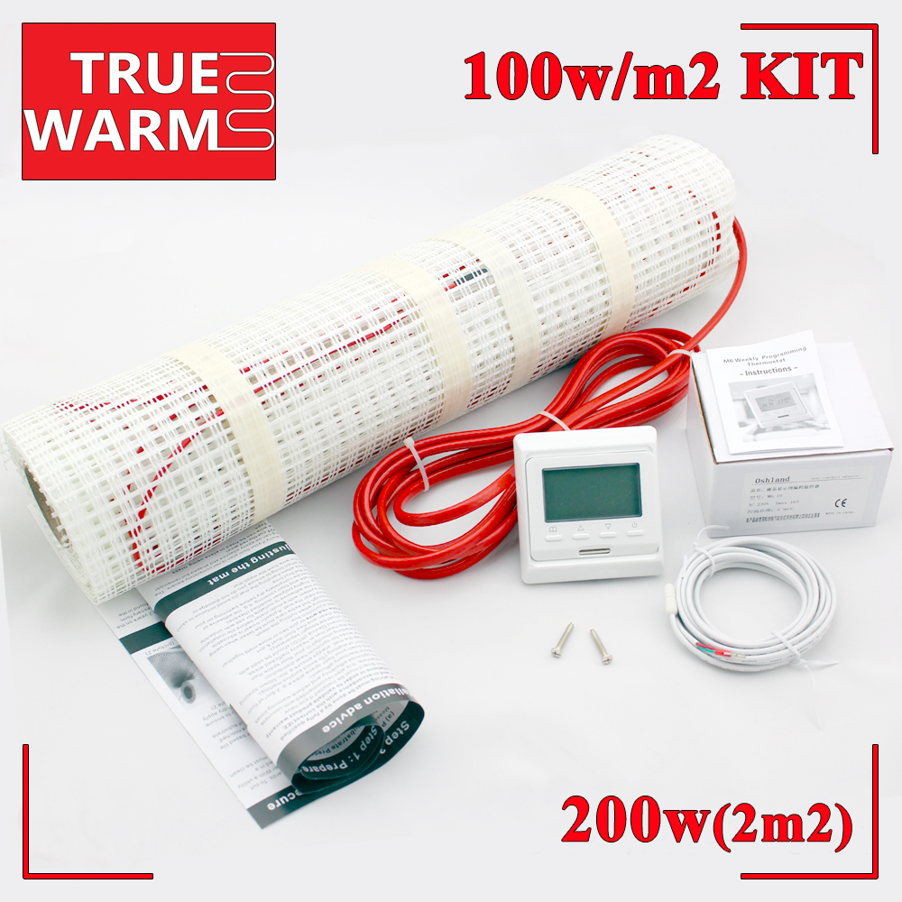 2M2, 200W, Free Shipping Electric Underfloor Heating Mat Kit With Heat Thermostat For Floor Heating Systems, Wholesale T100-2.0