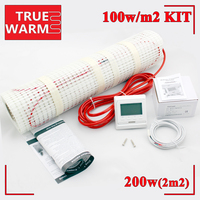 2M2, 200W, Free Shipping Electric Underfloor Heating Mat Kit With Heat Thermostat For Floor Heating Systems, Wholesale T100 2.0