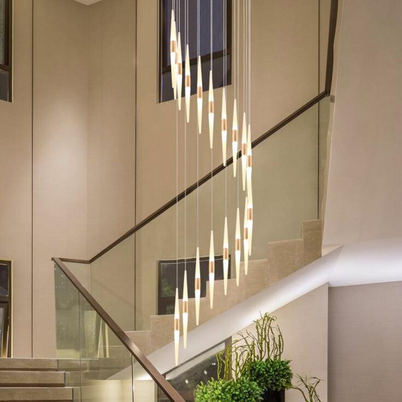Staircase chandeliers long chandelier modern minimalist dining room living room personality creative fashion rotating villa lamp staircase chandelier double staircase lamp long chandelier luxury villa staircase crystal lamp modern minimalist living room led