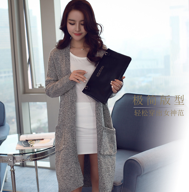 New Fashion Autumn long sweater coat For women Jumper Plain ...