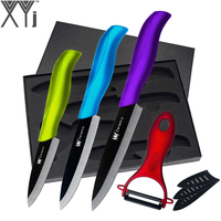 XYJ Brand 5 Piece Set Colorful Handle Kitchen Knives Black Blade 3 Inch 4 Inch 5