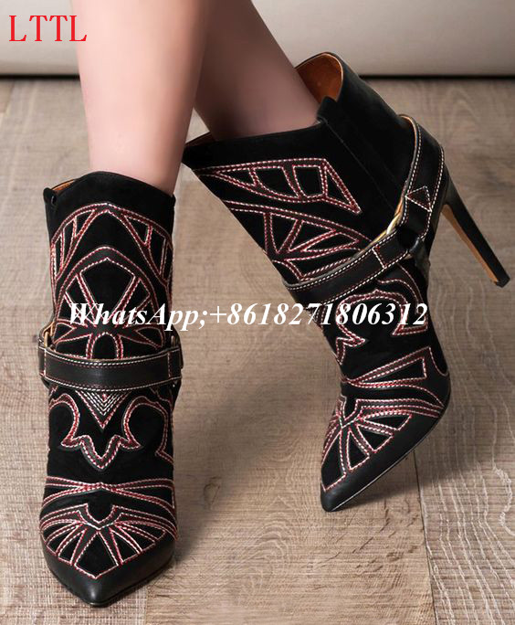 Fashion Autumn Winter Suede And Leather Embroidered Ankle Boots Black Red Pointed Toe Sexy High Heel Shoes Woman Short Booties autumn winter cool fashion black leather and suede spike heel short boots charming woman pointed toe ankle boots concise design