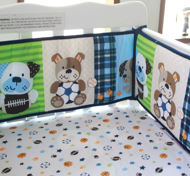 Baby Bedding Bedding Sets New 7 Pcs Baby Bedding Set Crib Bed Set Cartoon Little Dog Baby Crib Set Quilt Bumper Sheet Skirt