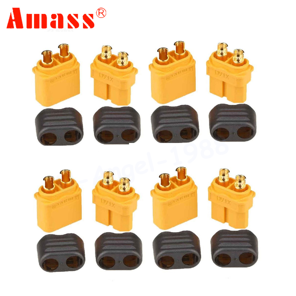 10 x Amass XT60+ Plug Connector With Sheath Housing 5 Male 5 Female (5 Pair )10 x Amass XT60+ Plug Connector With Sheath Housing 5 Male 5 Female (5 Pair )