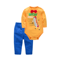 2 Pcs A Lot Soft Printing Orange Newborn Boy Jumpsuits Summer Cotton Short Sleeve Infant Bodysuit