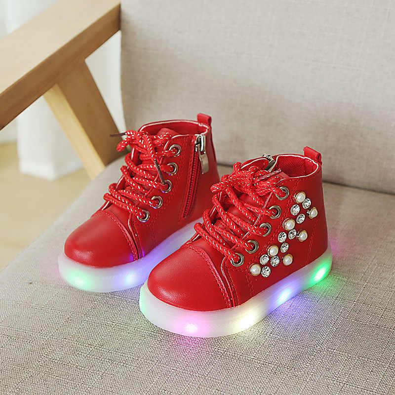 2018 ยุโรป lace up น่ารัก breathable สบายรองเท้าน่ารักเรืองแสง LED เด็กรองเท้า elegant เด็กรองเท้าผ้าใบ