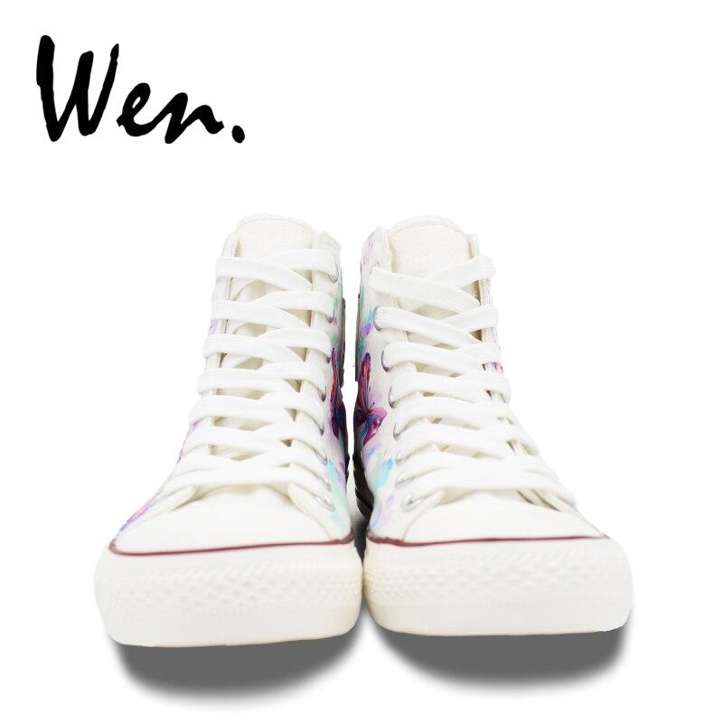 Wen Weiß Hand Gemalt Schuhe Design Nach Bunte Schmetterling Frauen männer High Top Canvas Sneakers Plattform Geschnürt Plimsolls - 5