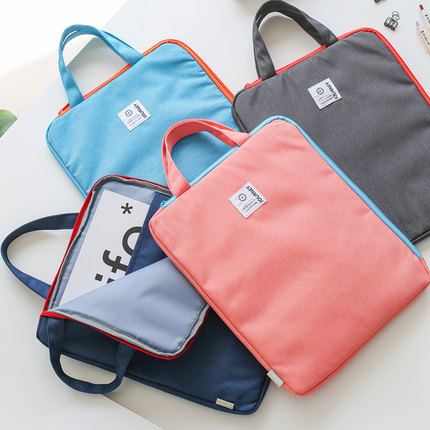 Solid Color Fashion Portable Document Bag Zipper Bag Canvas A4 Paper Organizer File Bag For Documents