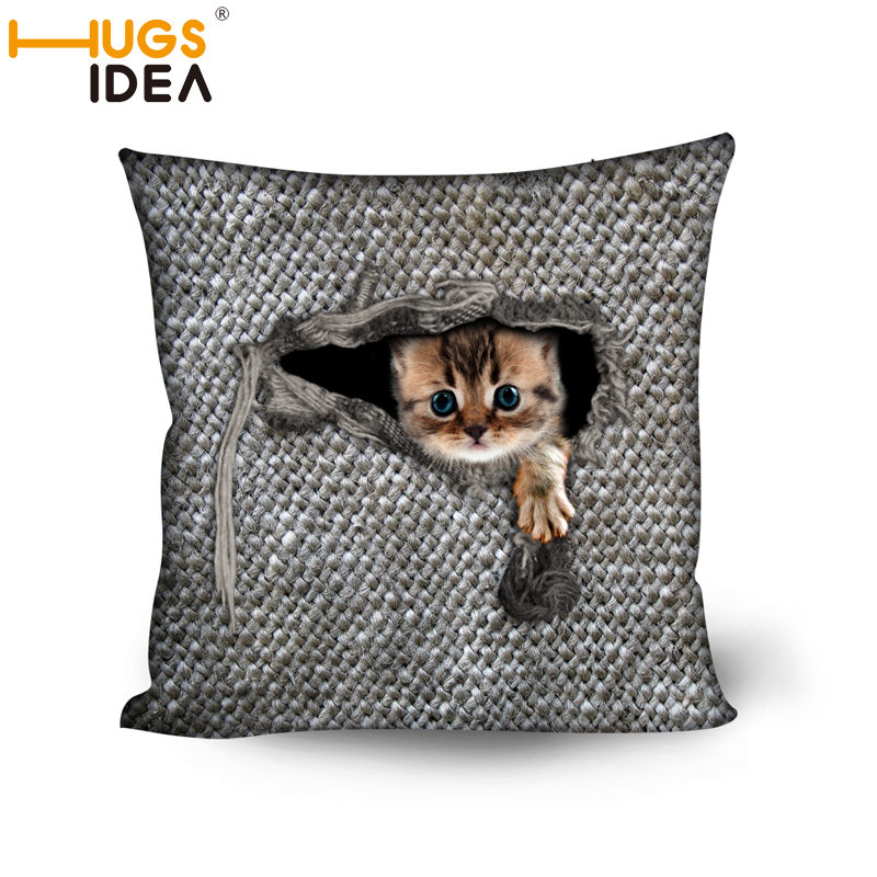HUGSIDEA 3D Cat Owl Bird Home Decor Throw <font><b>Pillows</b></font> Cushions Sofa Home Decorative Polyester With Filled Insert for Chair Almofadas