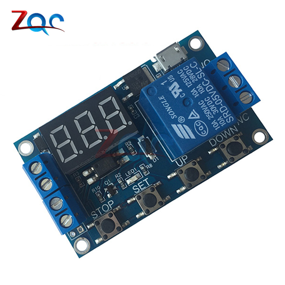 WS16 DC 6-30V Support Micro USB 5V LED Display Automation Cycle Delay Timer Control Off Switch Delay Time Relay 6V 9V 12V 24V dc 12v delay relay delay turn on delay turn off switch module with timer mar15 0