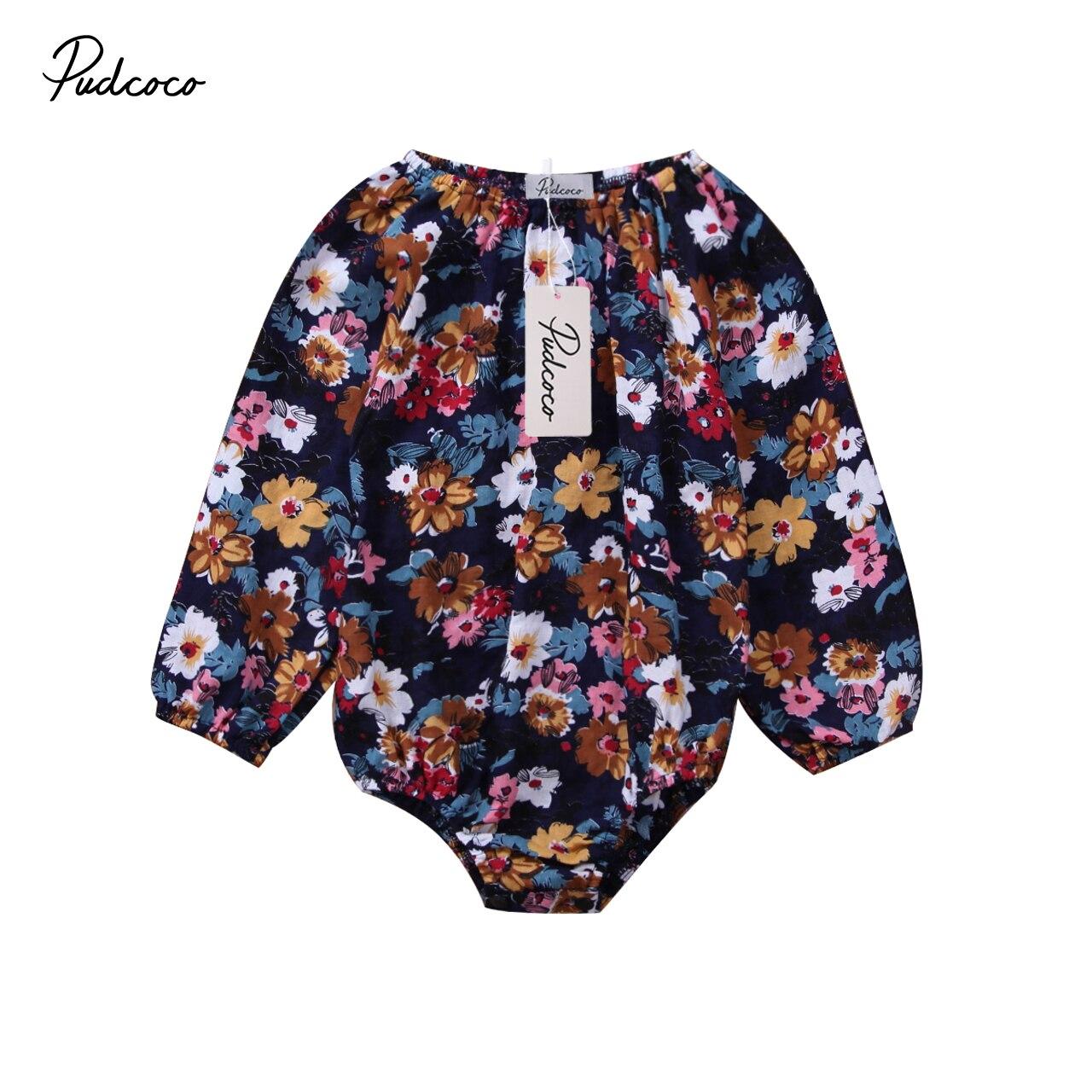 87cc403e7 Pudcoco recién nacido bebé niñas Floral Romper de manga larga Top mono  traje de bebé niñas pequeñas ropa de invierno
