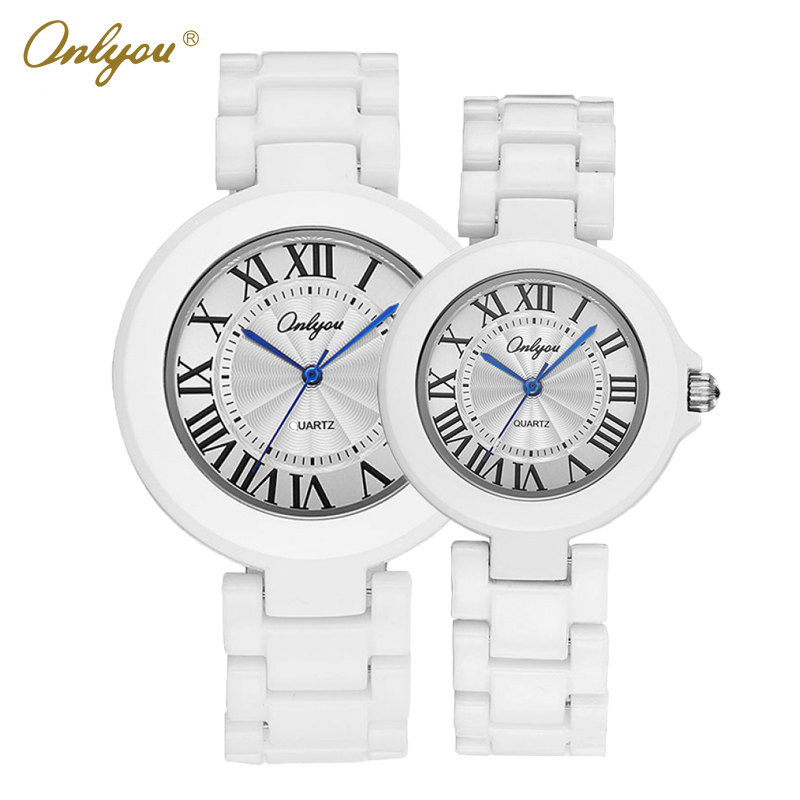Onlyou Brand White Ceramic Watch Mens Womens 2016 Quartz Watches Wrist Bracelet Boys Girls Fashion Casual