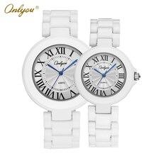Onlyou Marque Blanc En Céramique Montre Des Femmes Des Hommes 2016 Montres À Quartz Poignet Bracelet Garçons Filles Mode Montre Sport Horloge 8830
