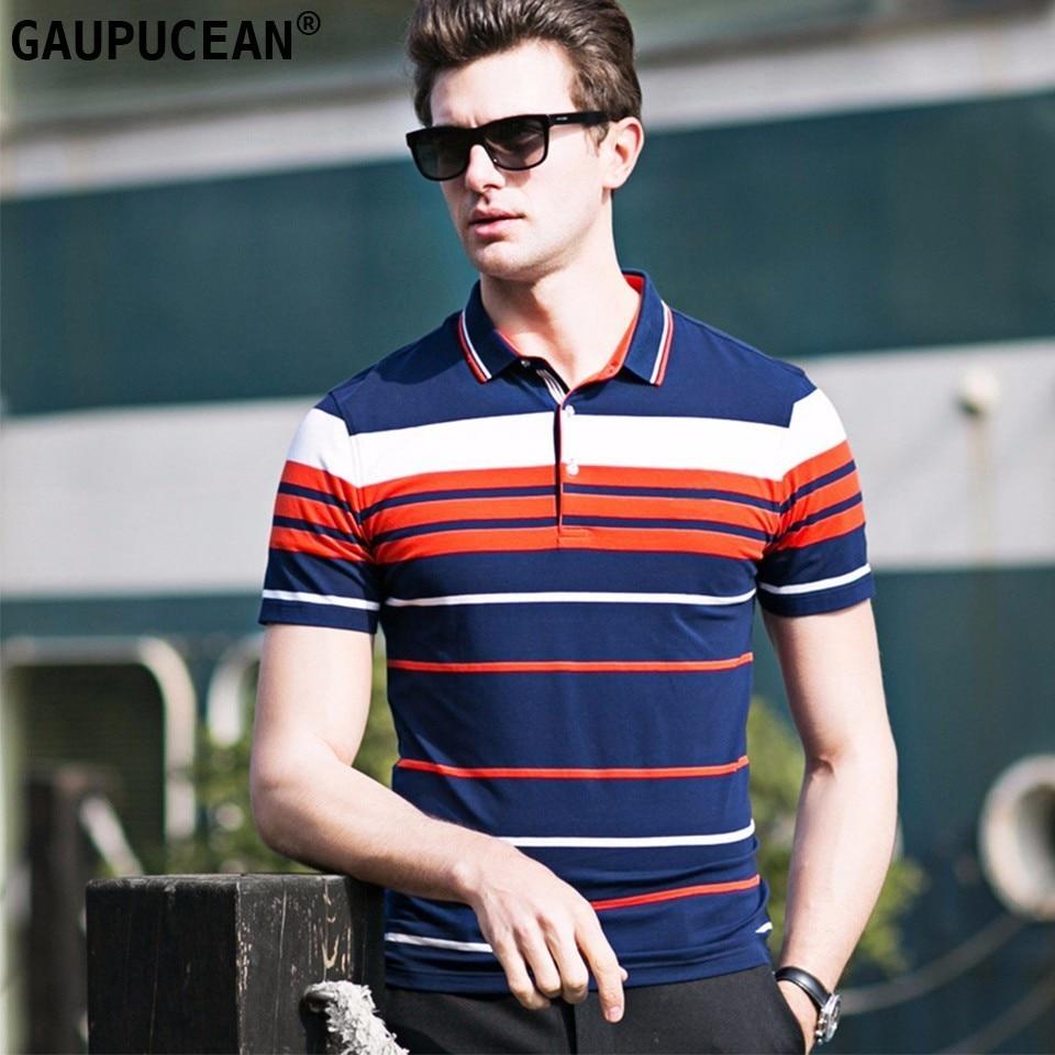 95% Cotton 5% Spandex Men   Polo   Shirt Short Sleeve Soft Orange Green Quality Fashion 2018 Summer Male Stripe Man   Polos   Shirts