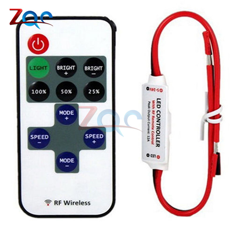 12V RF Wireless Remote Switch Controller Dimmer For Remote Control Dimmers Mini In-line For 3528 2835 5050 LED Strip Light