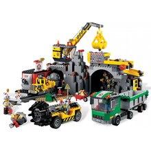 02071 шахты комплект с шахтерами цифры грузовик 838 шт модель строительные блоки кирпичи игрушки для детей подарки Fit Legoness City 4204