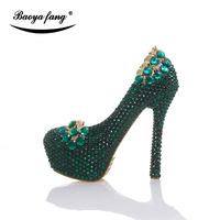 New Arrival 2017 Womens Wedding Shoes Green Crystal High Heels Platform Shoes Real Leather Insole Woman