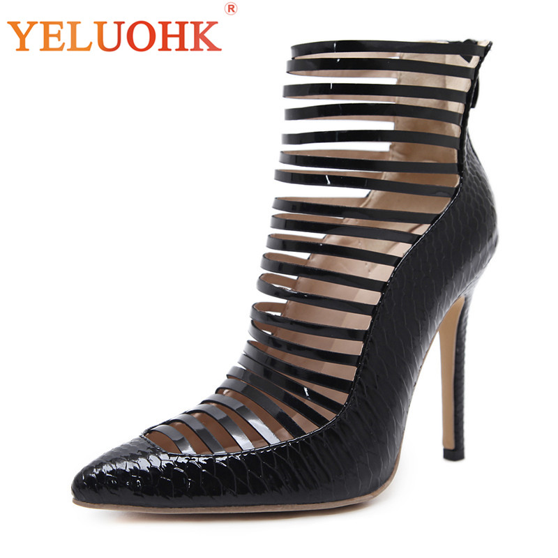 Gladiator Women Shoes High Heels Black Sexy Shoes Women Heels 2018 Women Pumps