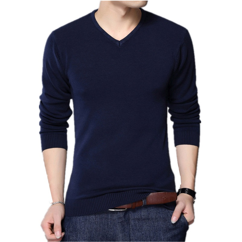 2019 Autumn Casual Winter Men Sweater V-neck Fashion Mens Pullover High Quality Knitting Sweaters Men Sweater gio voss sweater