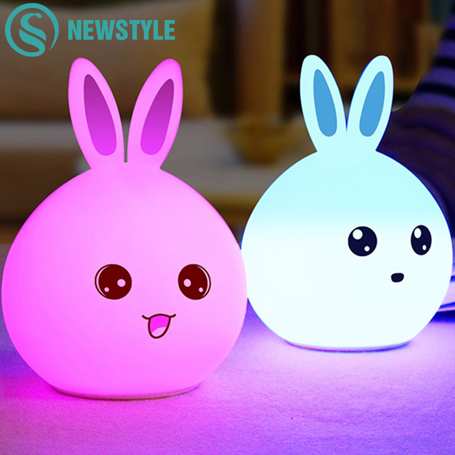 Cute Rabbit Silicone LED Night Light USB Rechargeable Baby Bedroom Night Lamp Touch Sensor Light for Children Baby Gift