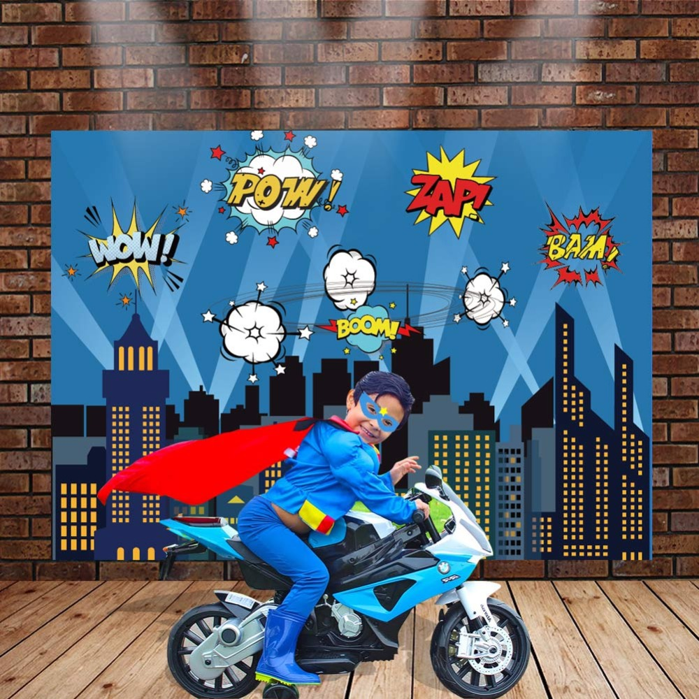 Image 4 - OurWarm Superhero Party Photography Backdrop Birthday Party Wall background With Mask Gifts For Kids Birthday Party Decoration-in Party Backdrops from Home & Garden