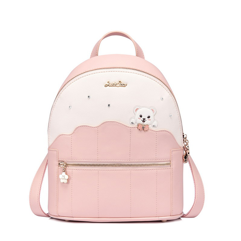 Bear Women Backpacks Bolsas Mochila PU Leather Solid Candy Colors Girls School Bags Femme Sac A Dos Pink backpack dida bear women leather backpacks bolsas mochila feminina girls large schoolbags travel bag sac a dos black pink solid patchwork