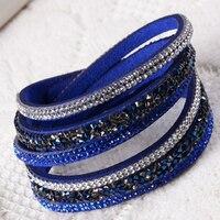 New Fashion Leather Bracelets&Bangles Charm Wrap Leather Bracelets Jewelry Pulsera for Women BIN