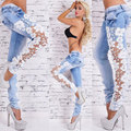 Sexy S-XL Women's Denim Light Blue Skinny Jeans Crochet Lace Party Pants With Chain boyfriend jeans for women