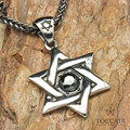 Star of David Fashion Hexagram with Black zircon and Artificial ruby    Men Stainless steel Pendant  pingente masculino necklace