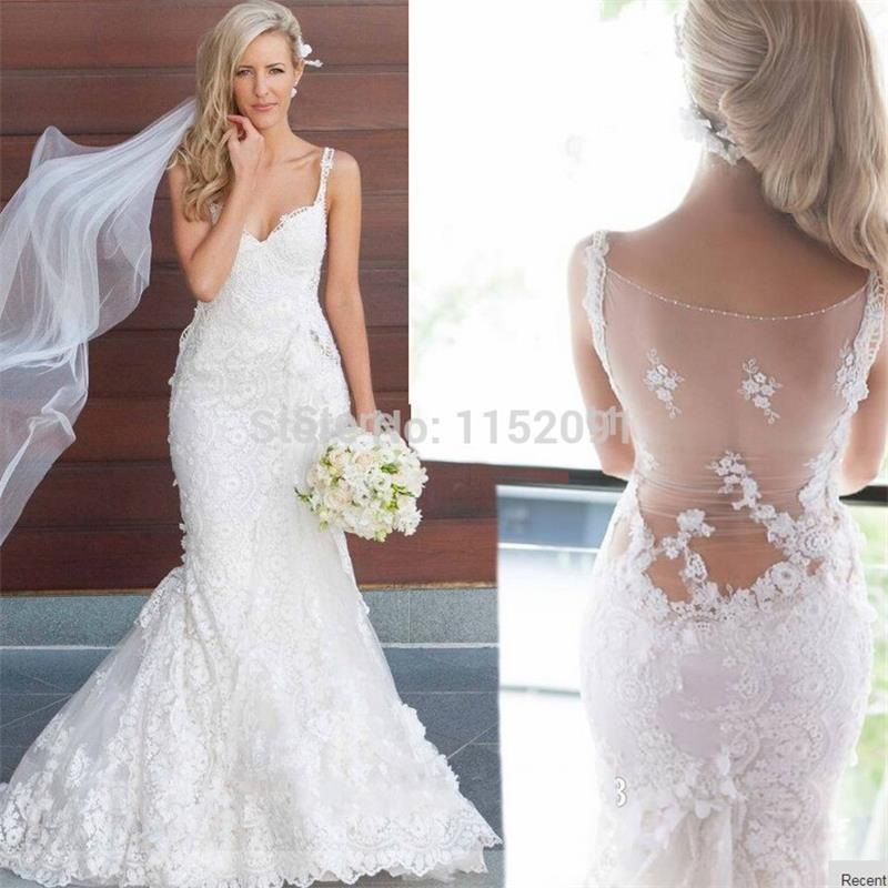 Vintage Mermaid Lace Wedding Dresses Plus Size 2016 Sexy Spaghetti Strapless Vestido De Noiva White China Made Bridal Gown In From Weddings