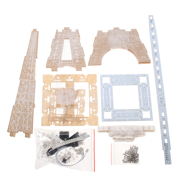 Dac Diy Electronic Kit Acrylic Eiffel Tower Diy 3d Led Light Cube Kit Led Music Spectrum For Dac Mp3 Music Display Gift Present Accessories & Parts