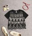 Artesanal de luxo Lantejoulas Frisado Chiffon de Manga Curta Top Mulheres Safra de Verão Padrão Nação Um Tamanho Blusa Bordado Camisa Blusas