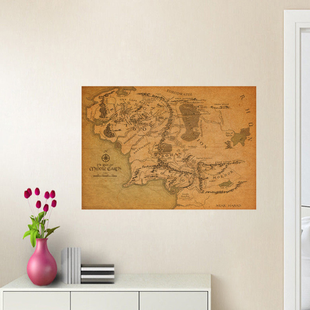 Middle Earth Map On Lord Of The Rings Vintage Movie Room Art Mural