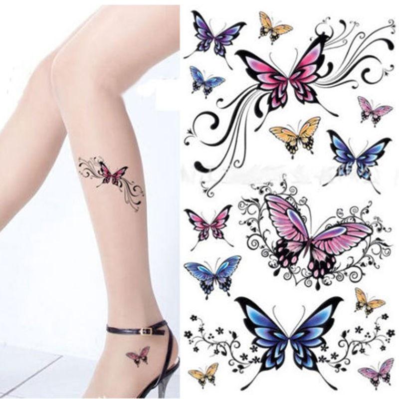1pcSexy Bunte Blume Wasserdicht Temporäre Tätowierungen Hülse Frauen Removable Body Tattoo Aufkleber Henna Fake Tattoo Paste Muster