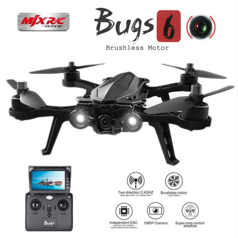 MJX Bugs 6 B6 2.4G RC Helicopter High Speed Brushless Motor RC Drone With Camera FPV Rea ...